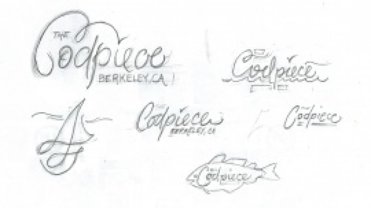 """Lettering for sailboat """"the Codpiece - Berkeley, CA"""" - student project"""