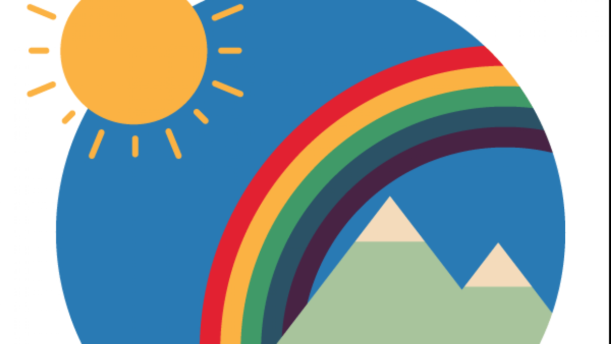 Sea/Mountainscape with rainbow - student project