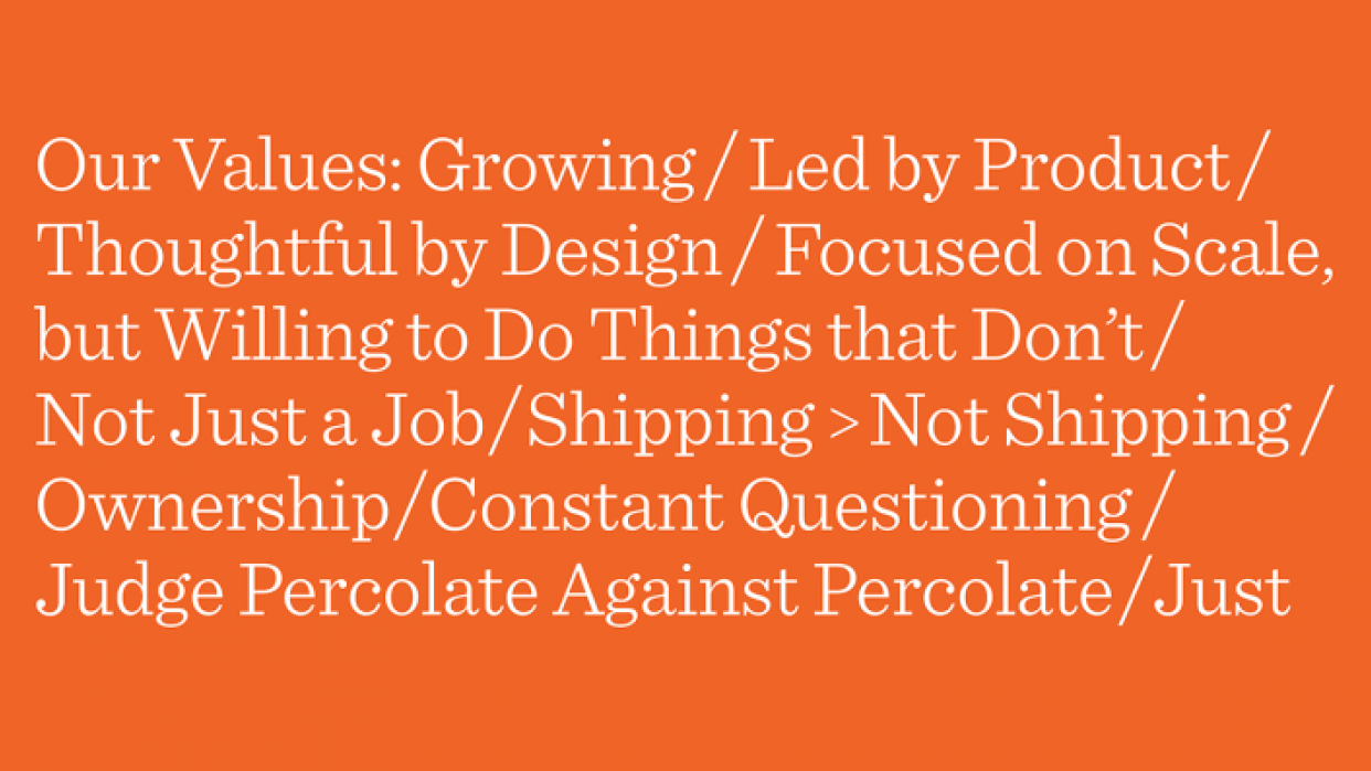 Percolate's Project - student project