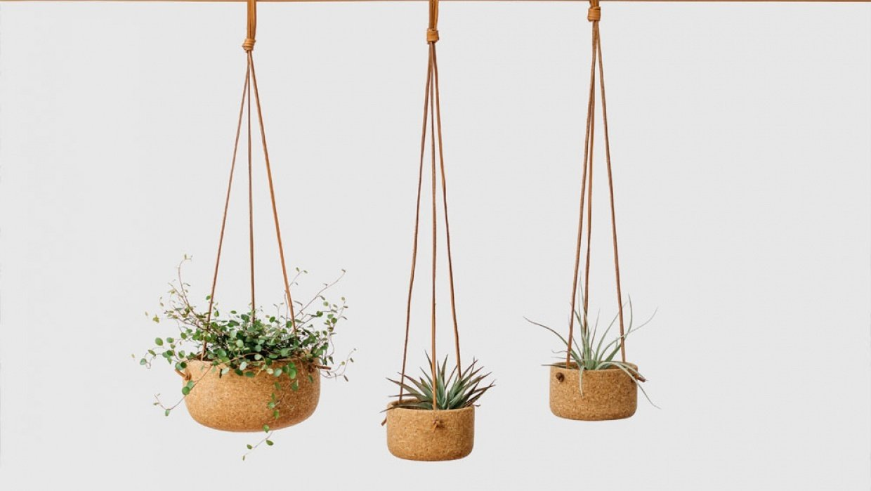 Melanie Abrantes Designs- Hanging Leather Planters - student project
