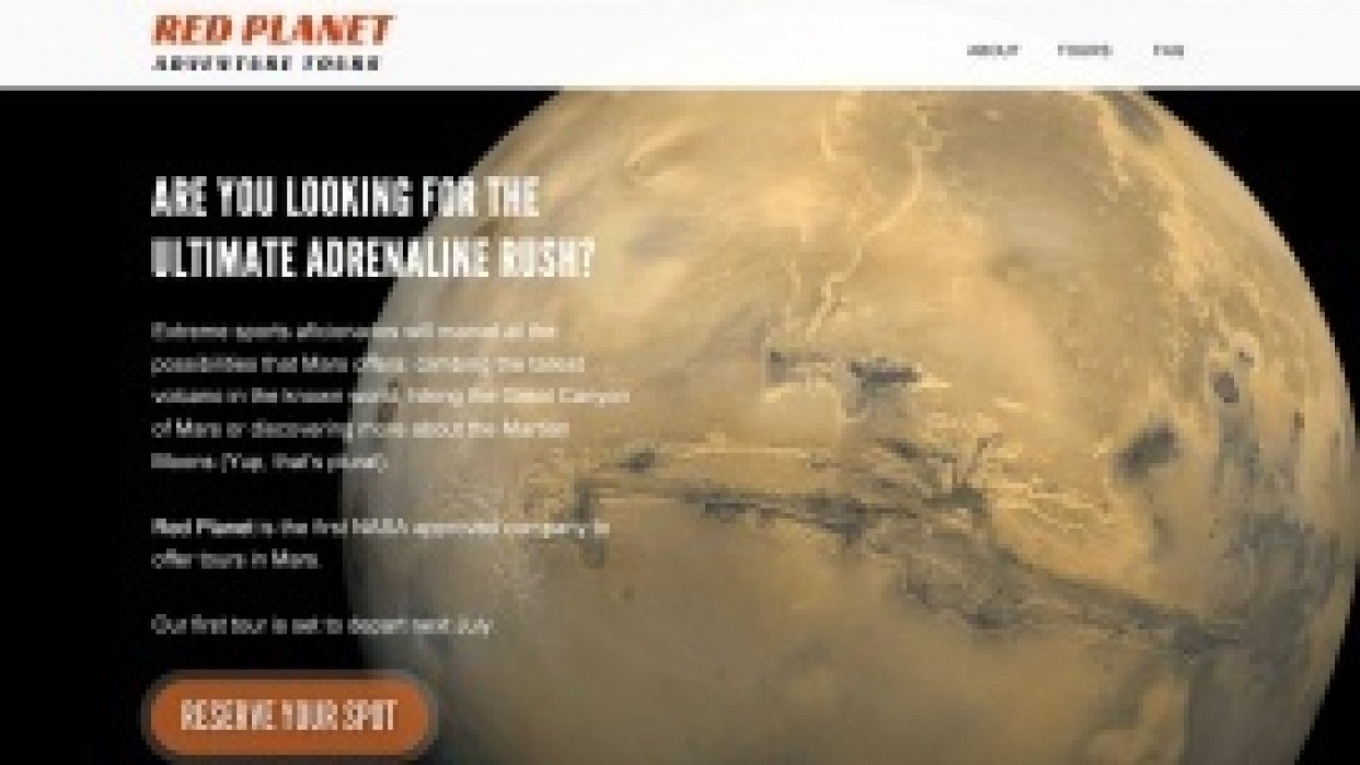 Red Planet Adventures Tours - student project