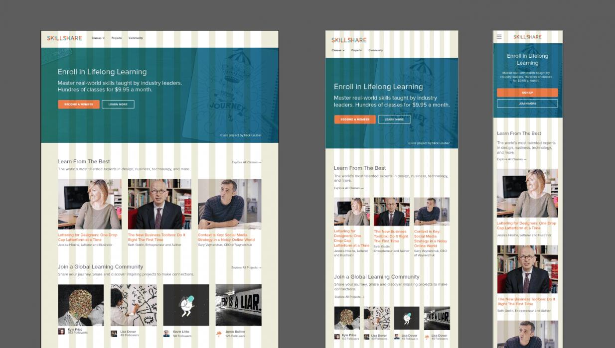 Skillshare's Responsive Homepage - student project