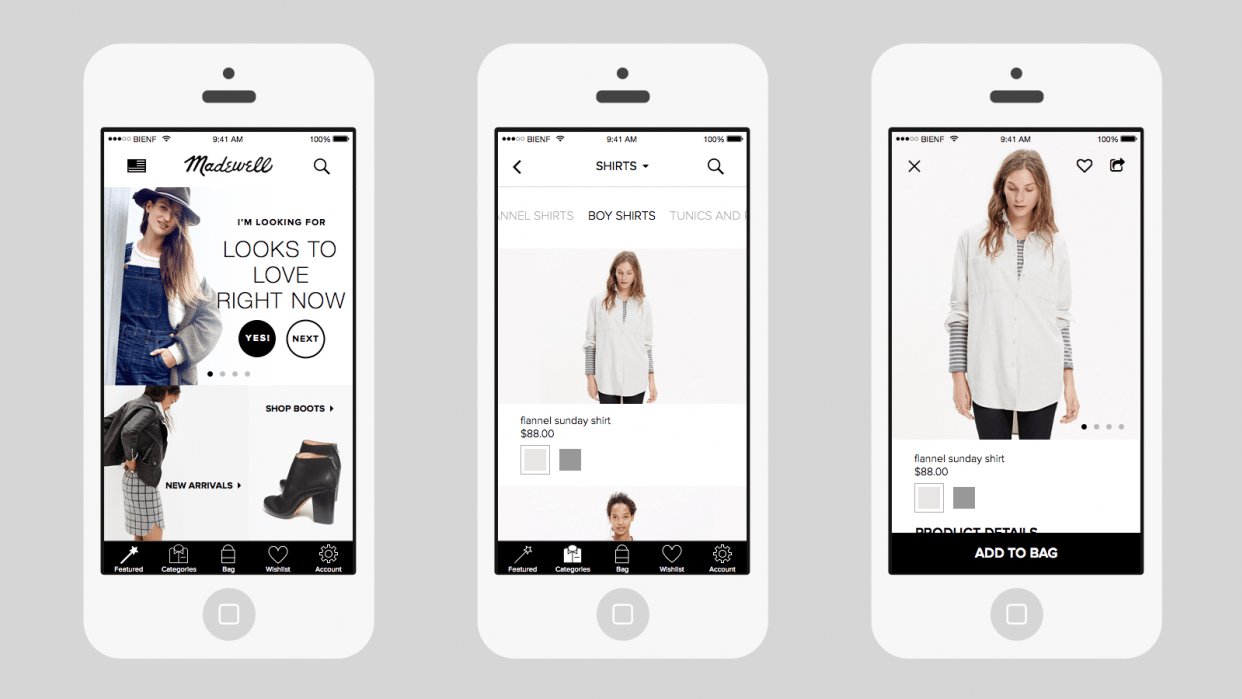 Madewell iOS App - student project