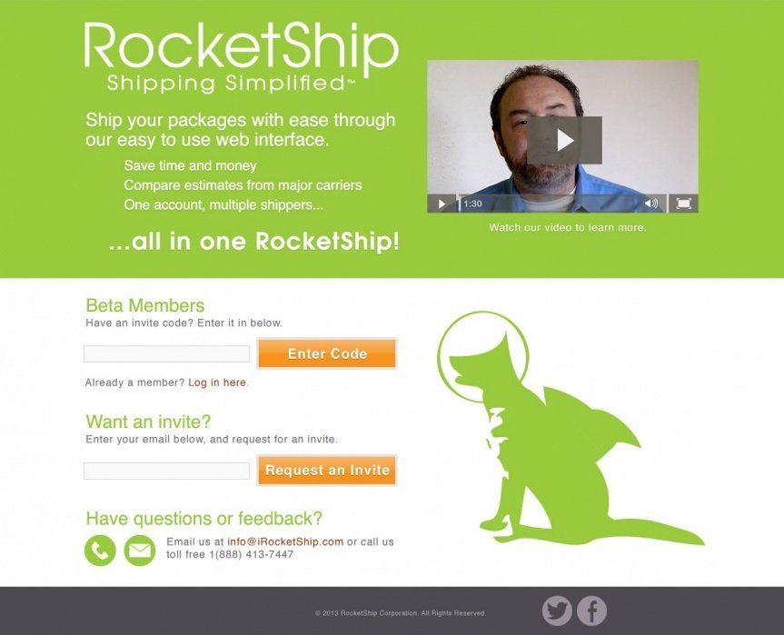 RocketShip Landing Page - student project
