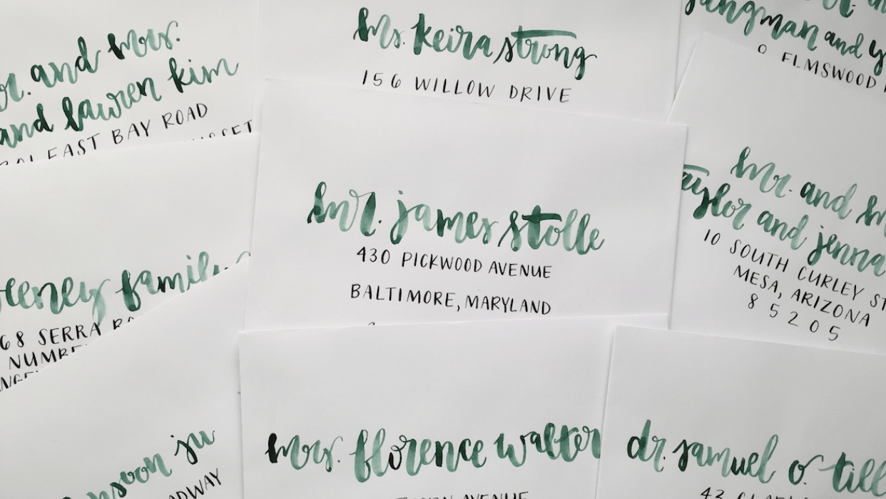 Watercolor and Ink Envelopes - student project