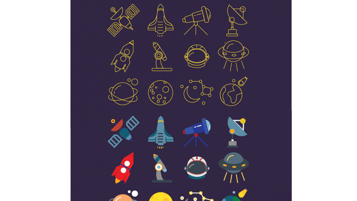 Space ,  Diving and Christmas  Icons  - student project
