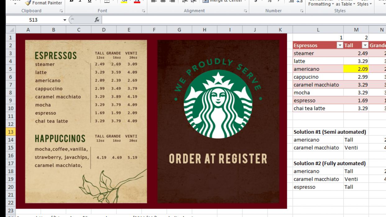 Starbucks Menu Automatic Vlookup! - student project