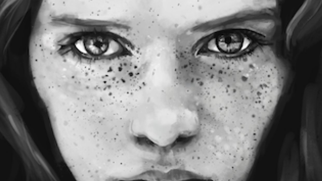 Digital Portrait of a Freckled Girl - student project