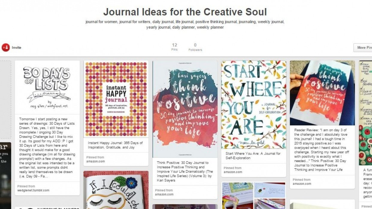 Pinterest Board for Journal Ideas by Kari Sayers - student project