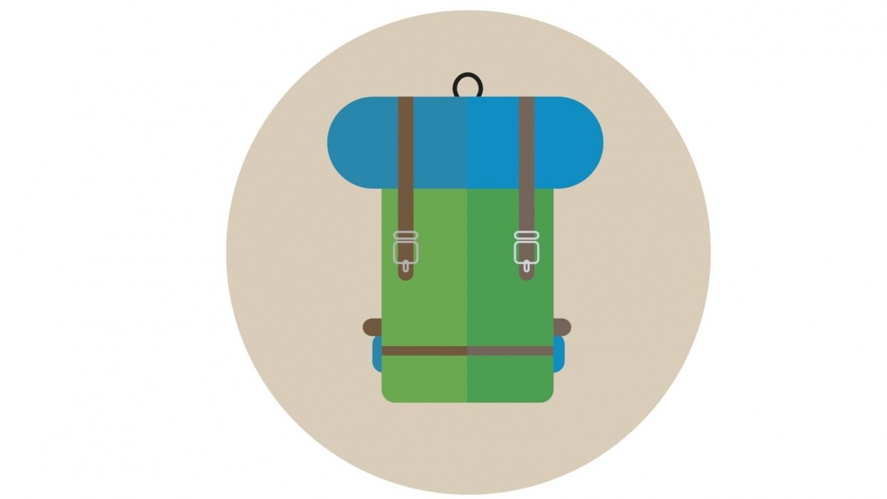 Flat design backpack - student project