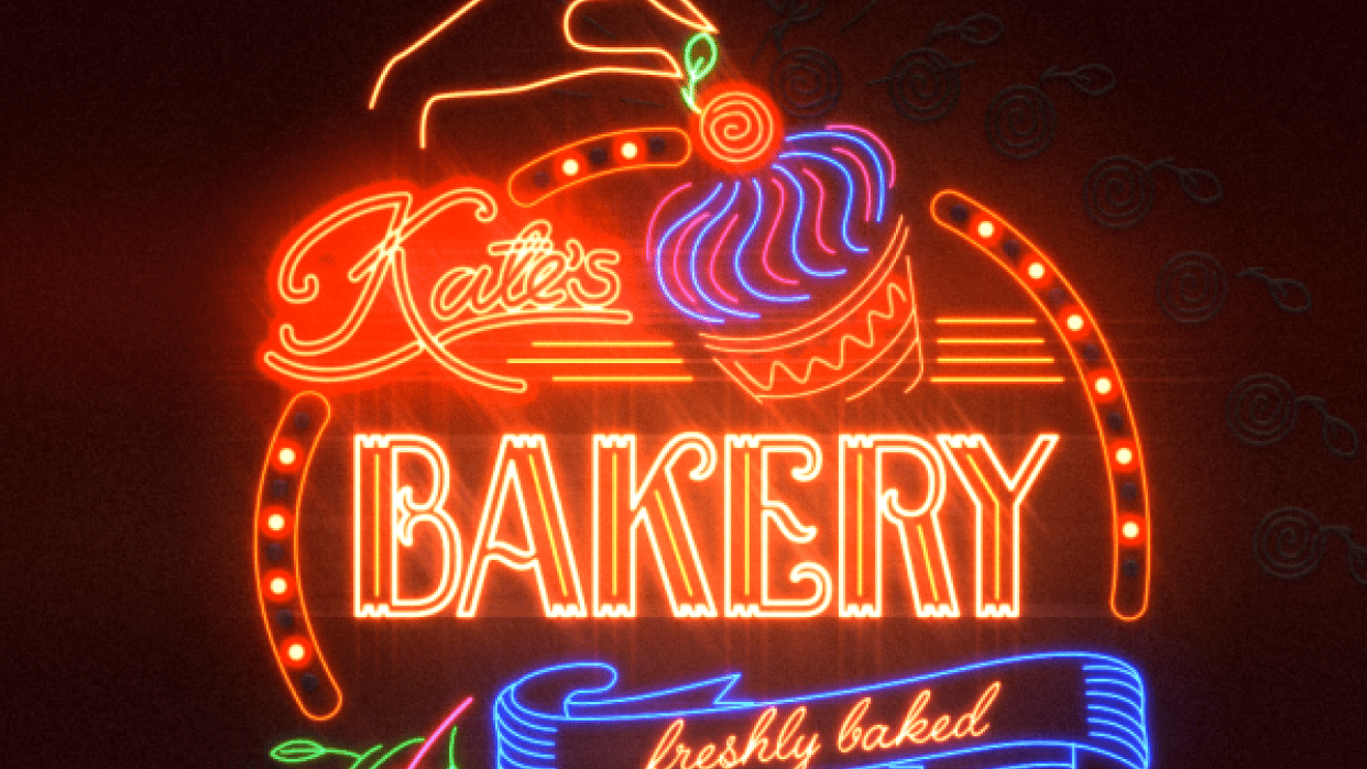 Kate's Bakery sign - student project