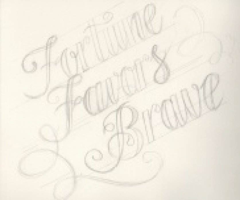 """Hand drawn initial sketch, """"Fortune Favors the Brave"""" - student project"""