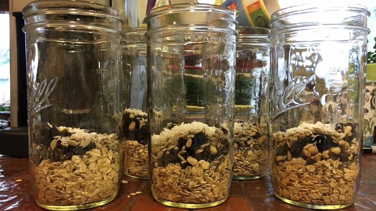 Oatmeal with seeds, nuts, dried fruits, and shredded coconut - student project