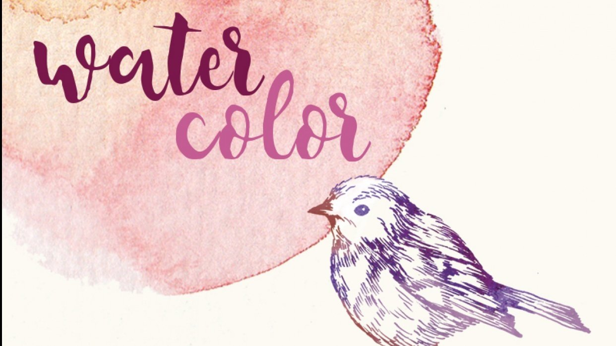 Watercolor textures for graphic design - student project