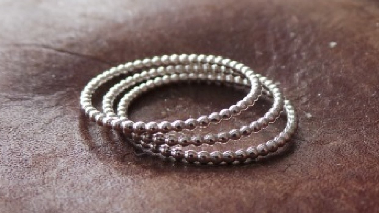 Beaded Wire Stacking Rings - student project