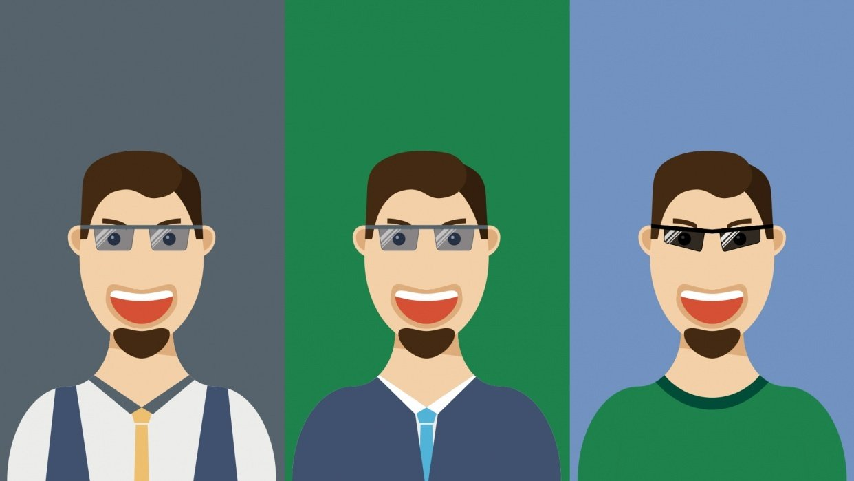 Flat Design Guy with Glases - student project