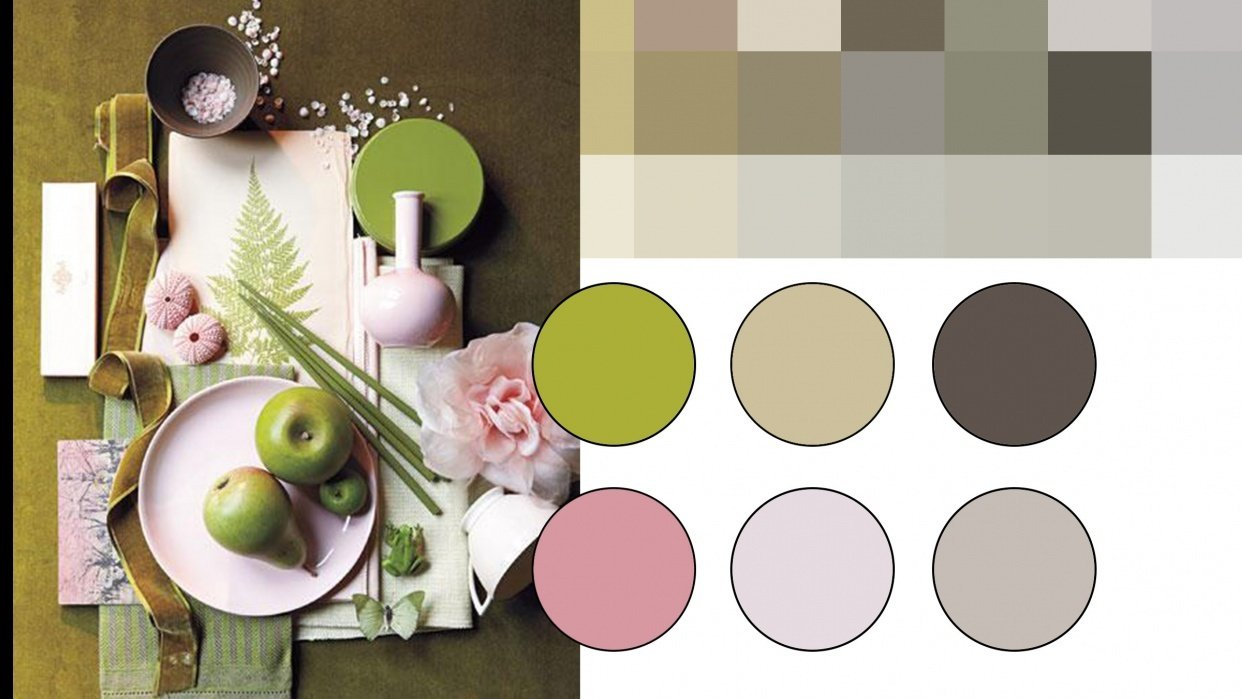 Green an pink colour palette - student project