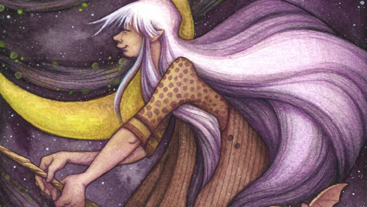 Editing in Photoshop my watercolor witch - student project