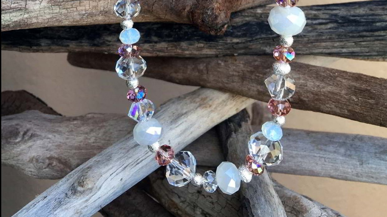 Beaded Necklace: Beachy Crystals - student project