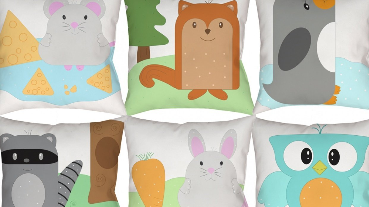Cute Animals and Pillows - student project