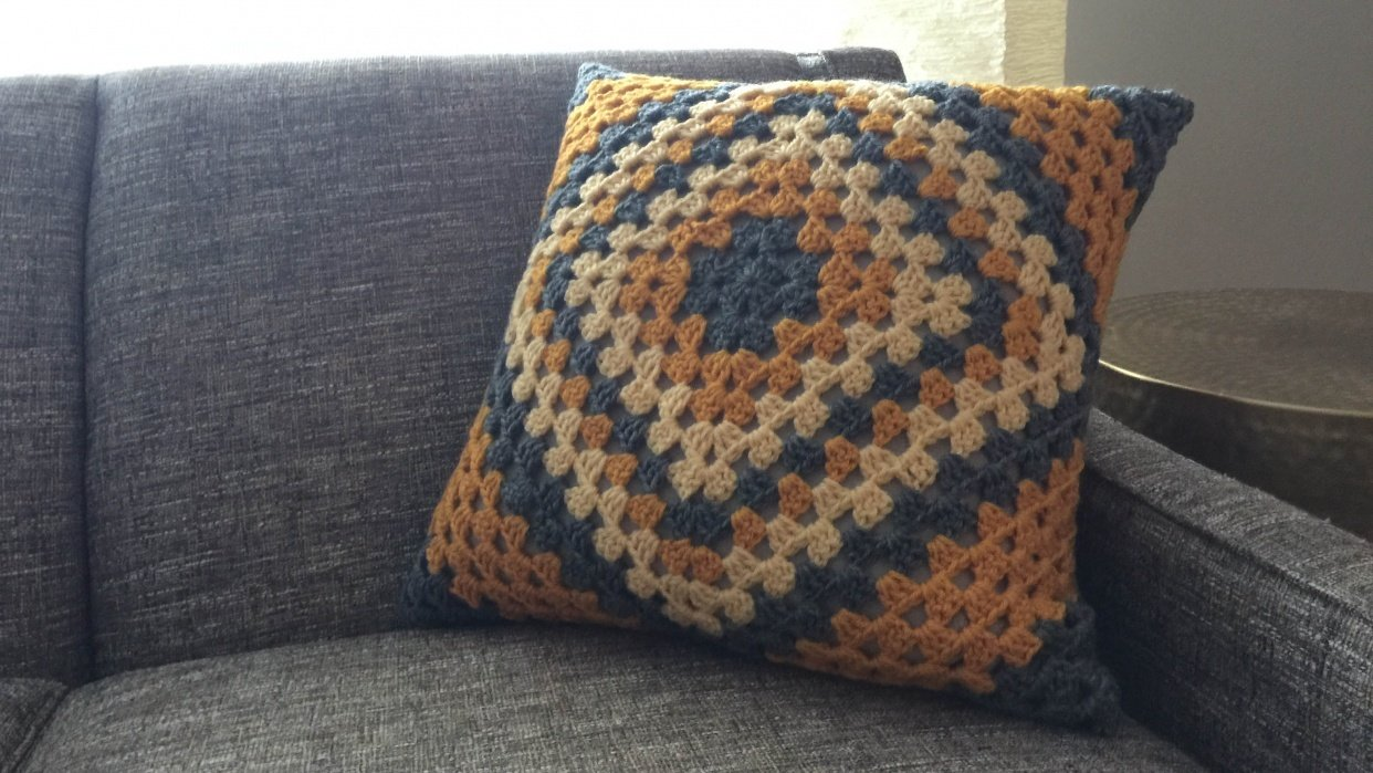 Graphic Granny Square pillow - student project