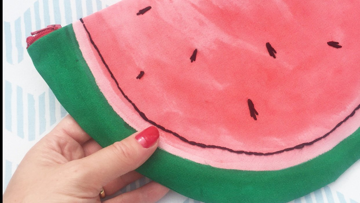 D.I.Y. hand painted watermelon clutch bag, now live! - student project