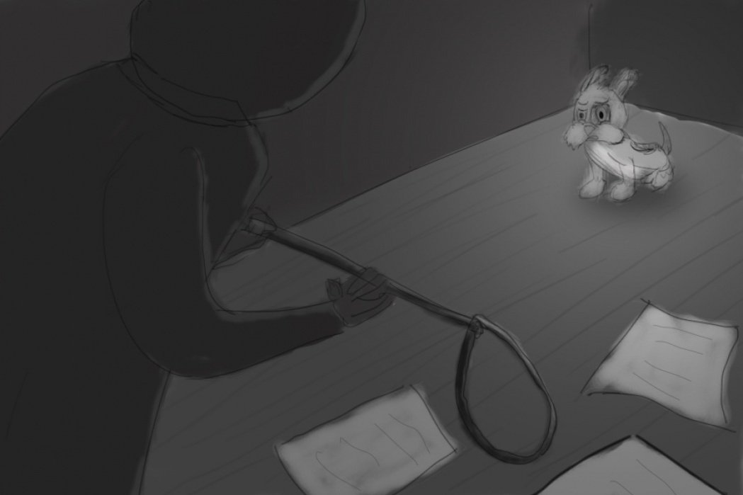 Puppy trapped. - student project
