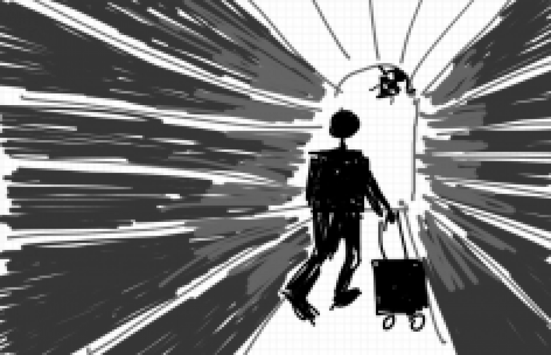 Traveler Arriving Is Greeted By Suspicious Host - student project