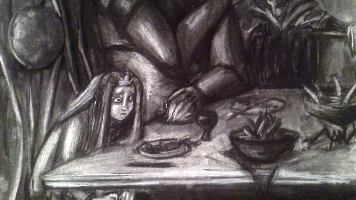 Charcoal Drawing of 2 AM Angst - student project