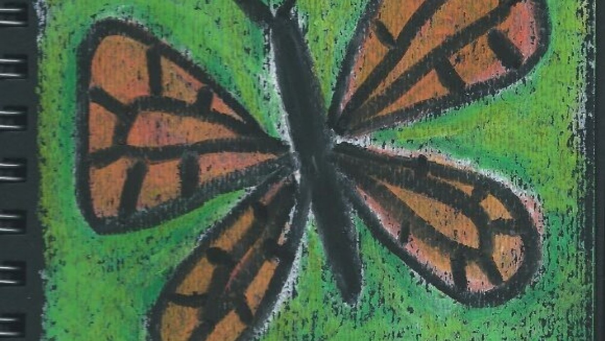 An Oil Pastel Monarch Butterfly - student project