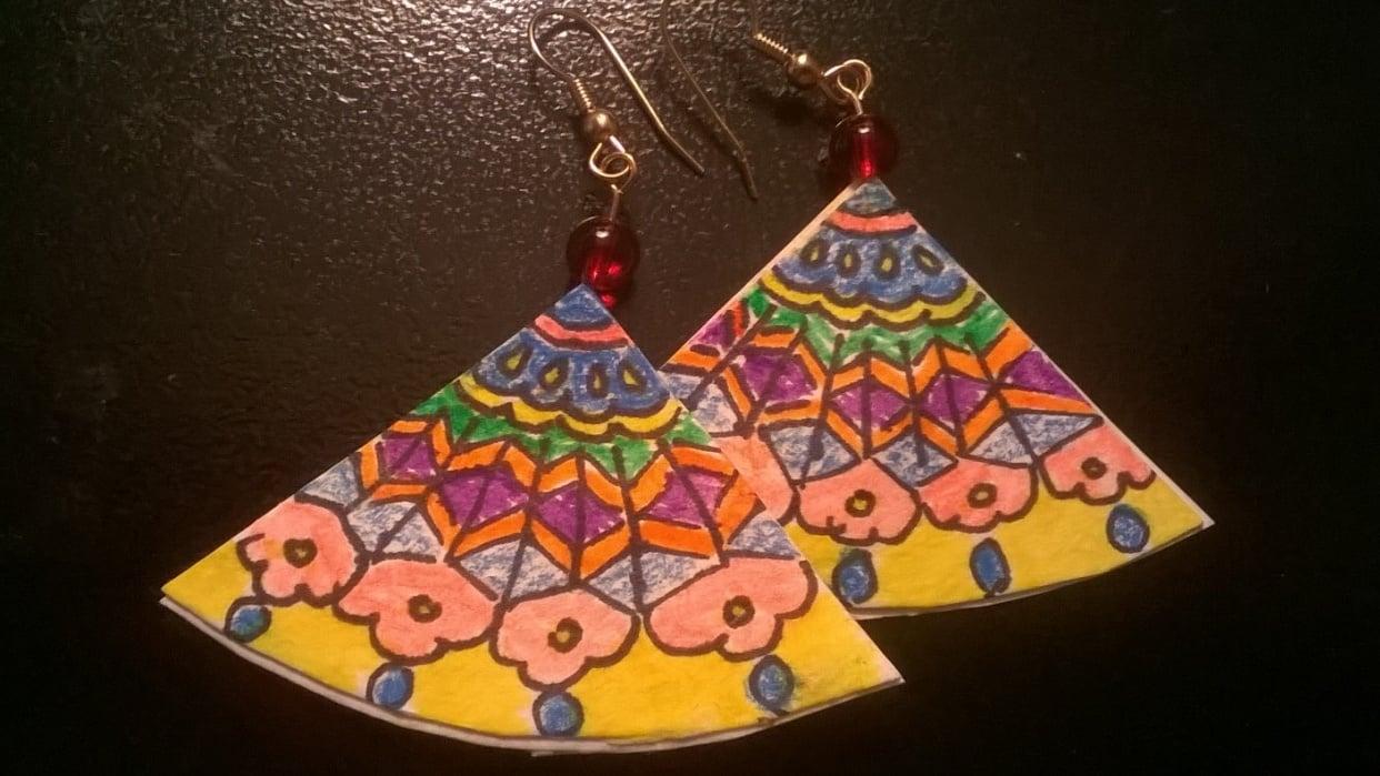 Art Deco Fan Earrings - student project