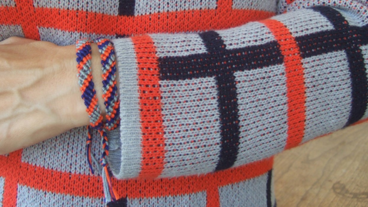 Bracelets to match my blue, orange and grey plaid sweater - student project