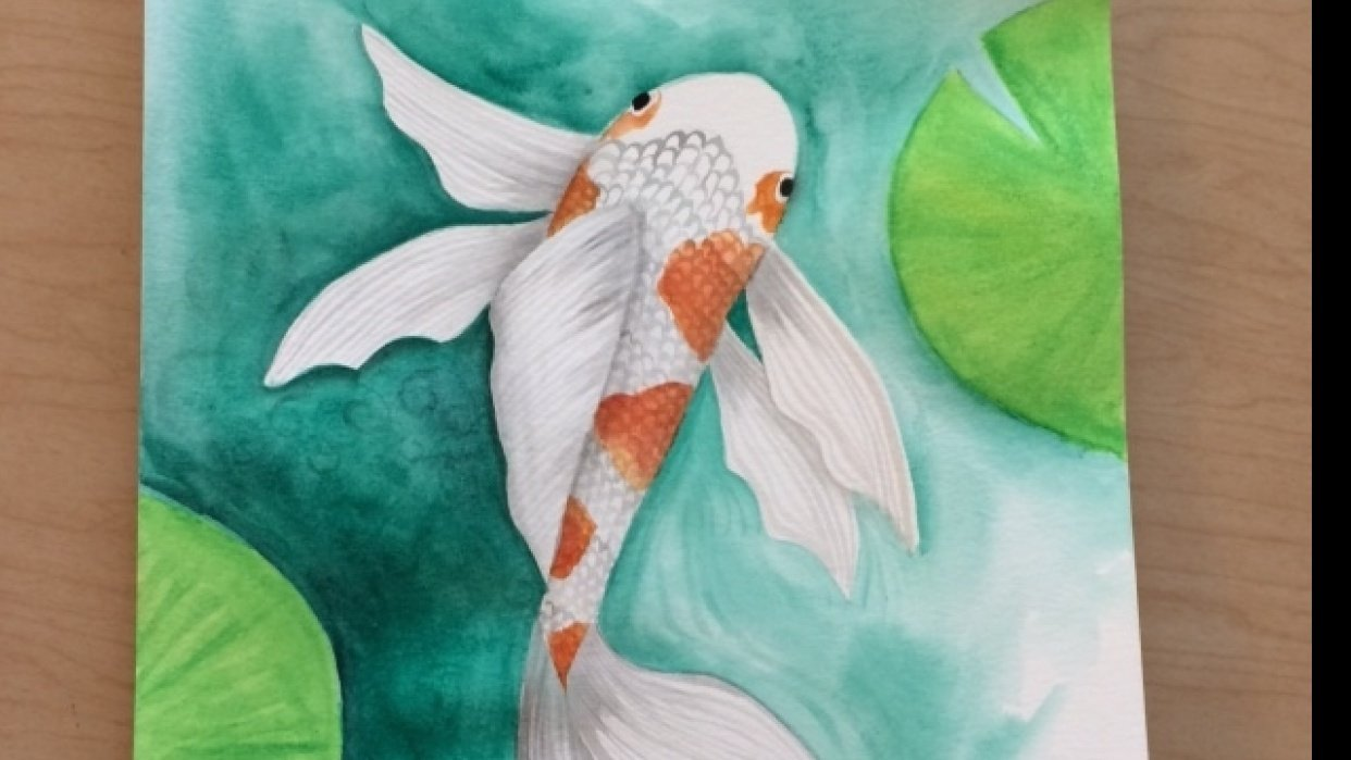 Koi fish lightly textured - student project