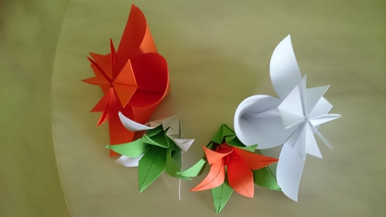 Paper Crafts - Lilies and Kusudama Flowers - student project