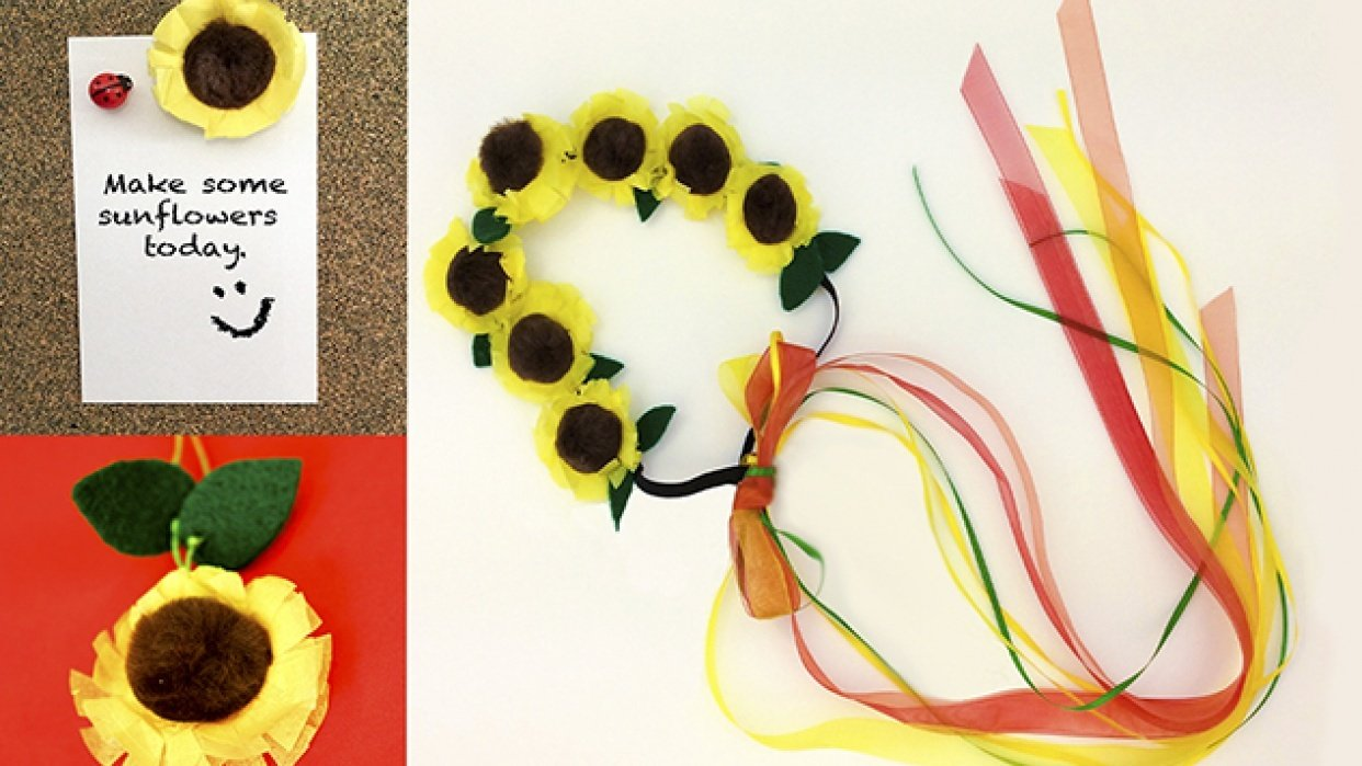Sunflowers from Bottlecaps-Easy Family DIY - student project