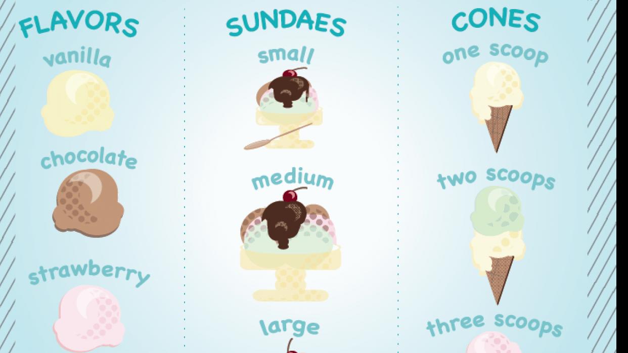 Geometric Ice Cream Menu - student project
