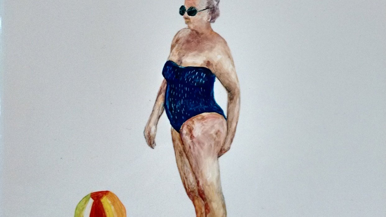 Lady with a beach ball - student project