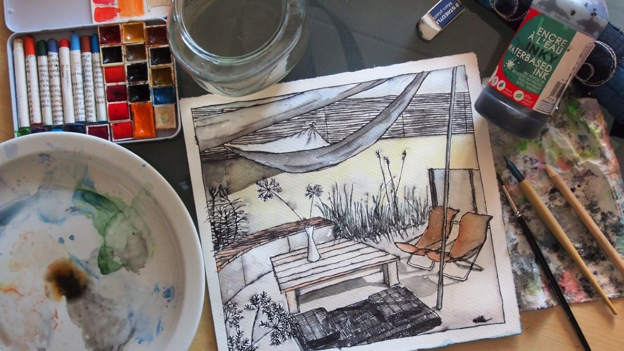 Inking & Watercolour Secrets of Interior Sketching a few pictures from the process. - student project