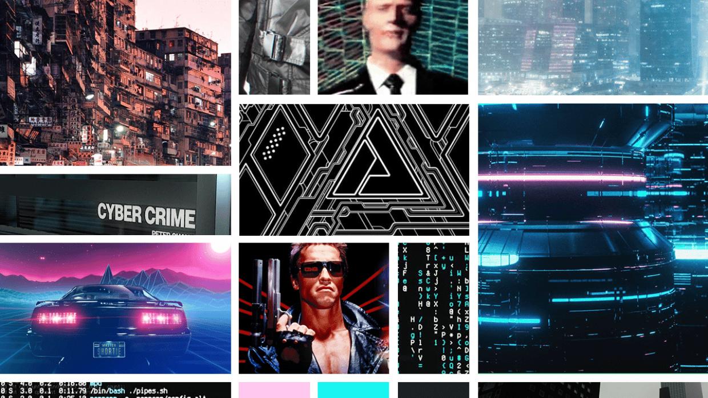 Cyberpunk/Vaporwave Themed Moodboard - student project