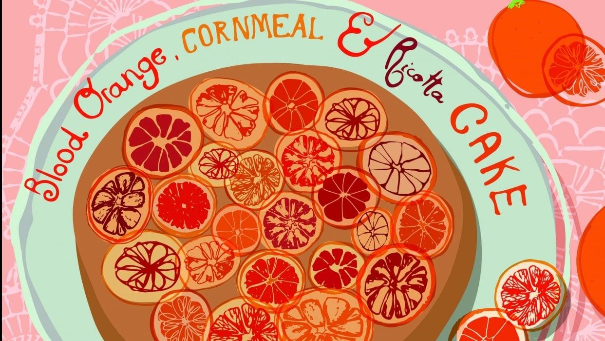 blood orange, cornmeal and ricotta cake  - student project