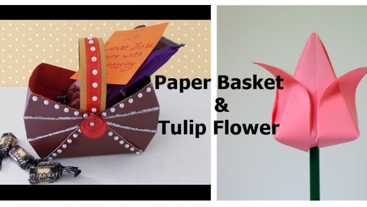 Create attractive Paper Baskets and Tulip Flowers - student project