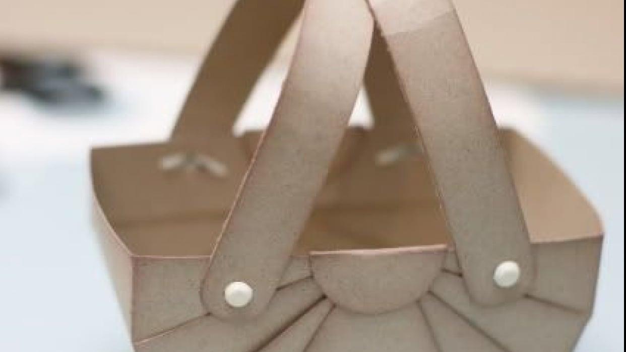 Making Cardstock Gift Basket - student project