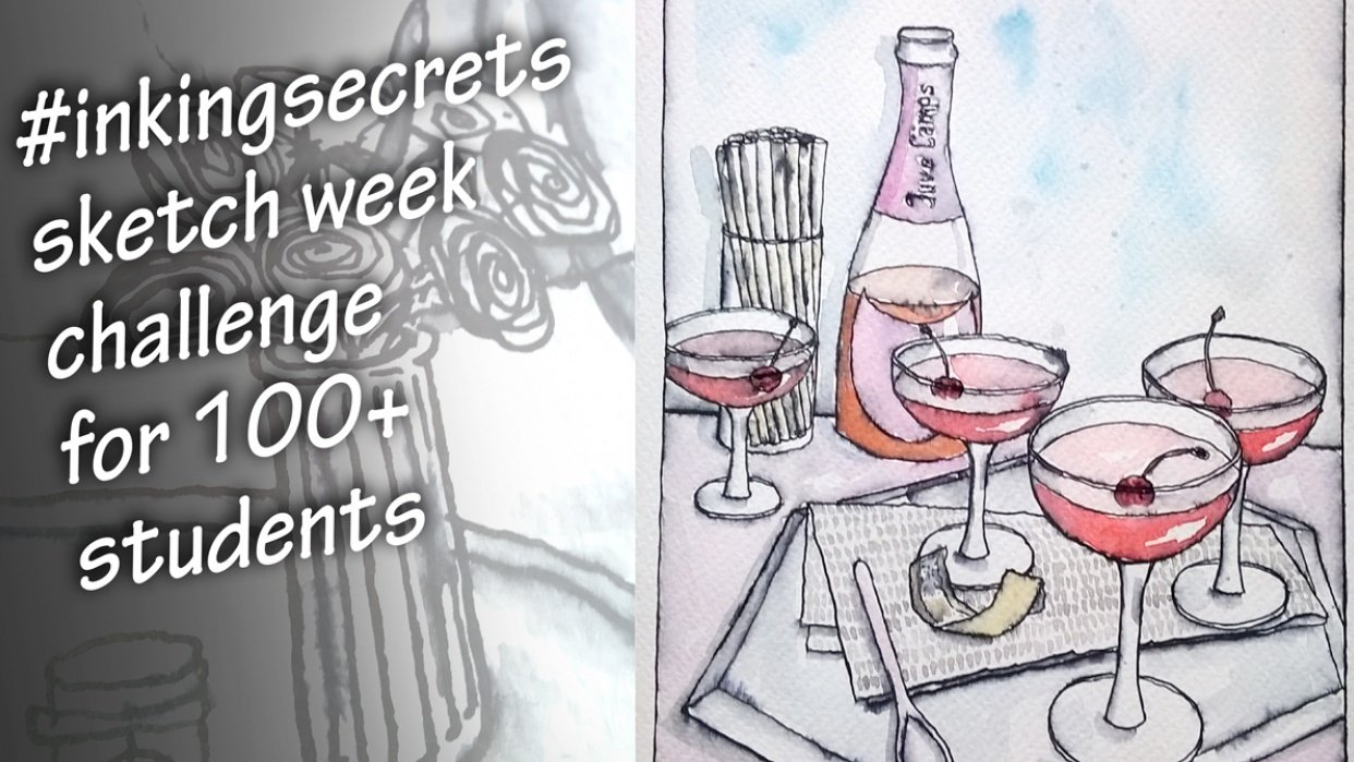 My first food sketch  Rosé All Day Jello - student project