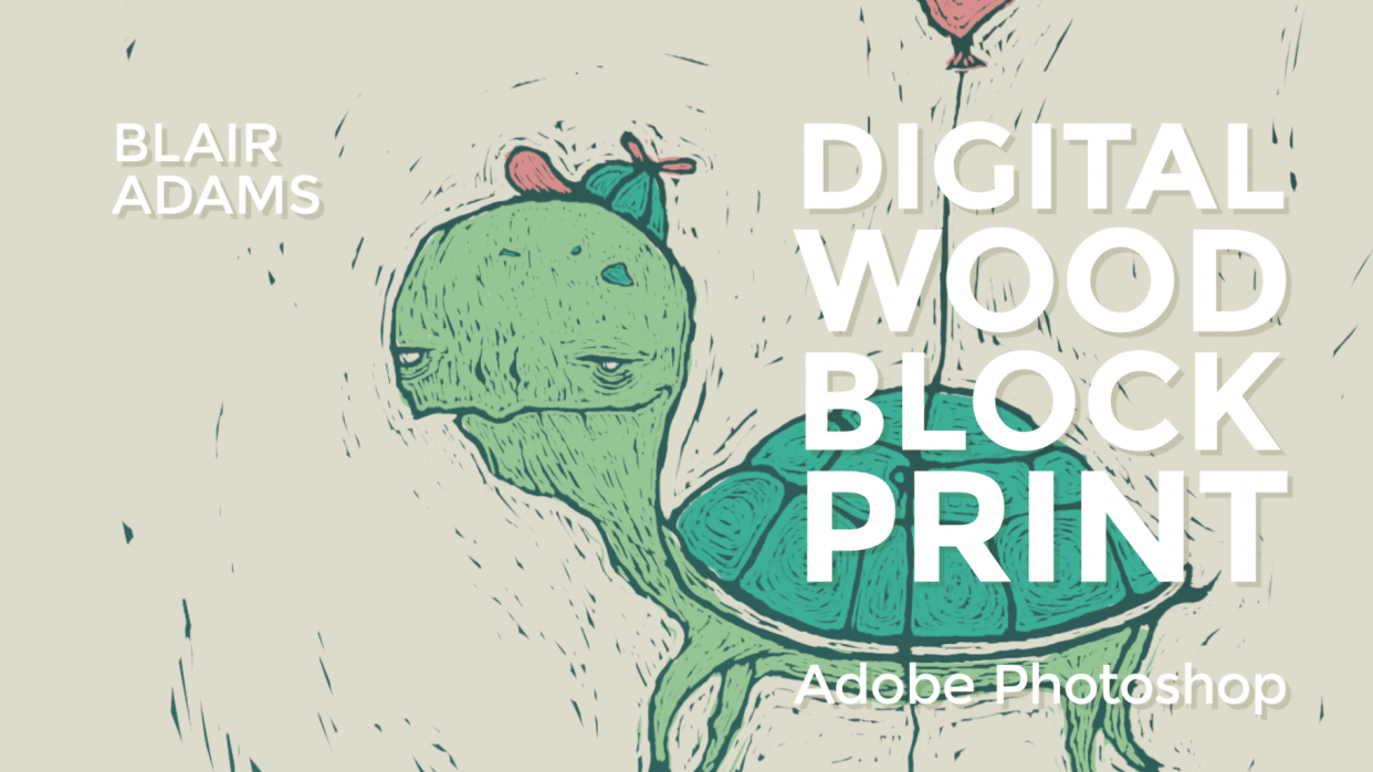 Digital Woodblock Print - Photoshop class - student project