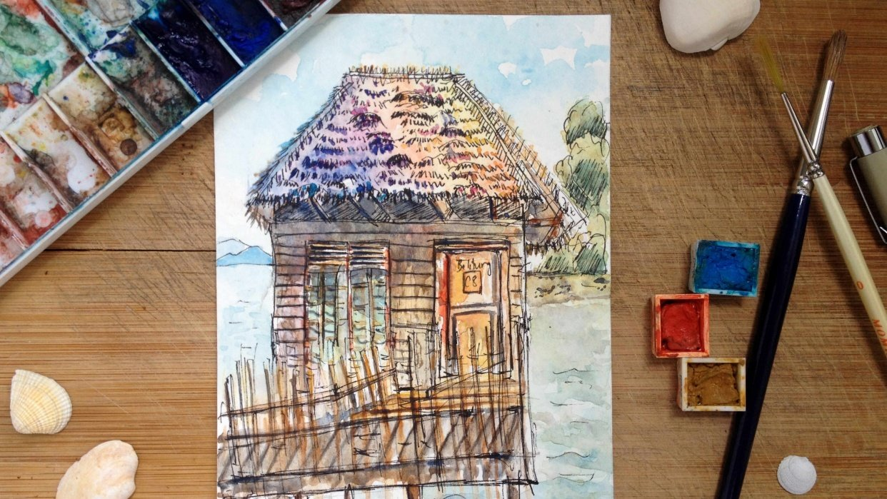 (Sample Project)  Stilt Hut on Sea - student project