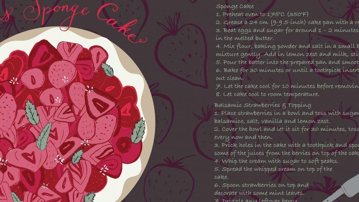 Balsamic Strawberry Sponge Cake - student project