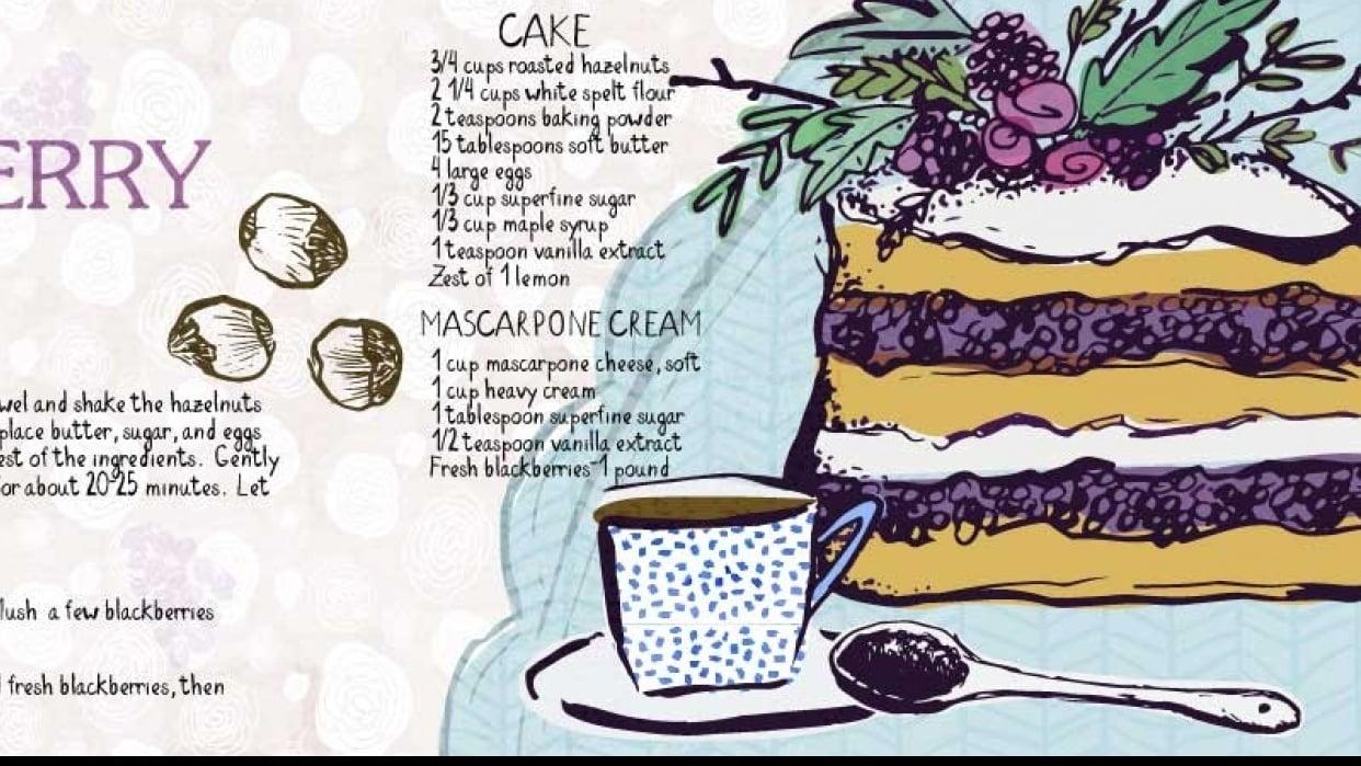 HAZELNUT AND BLACKBERRY CAKE - student project