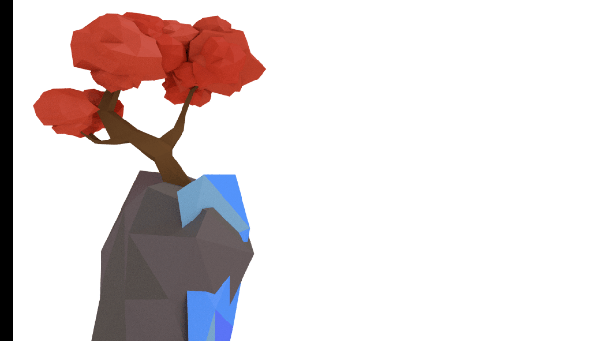 My low poly tree and mountain - student project
