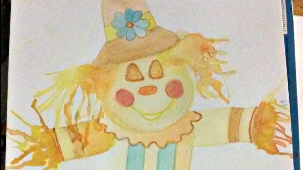 Watercolor. Straw. Scarecrow - student project
