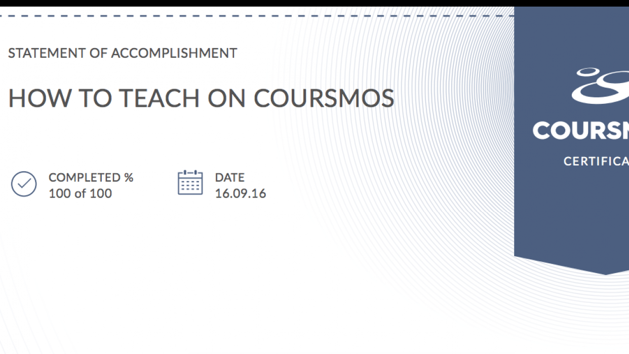 Course Completion Certificate From COURSMOS - student project